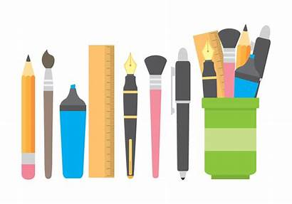 Vector Pen Holder Stationery Pencil Icons Clipart