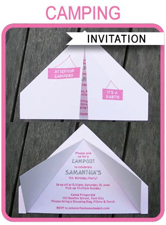 camping tent invitation template pink birthday party