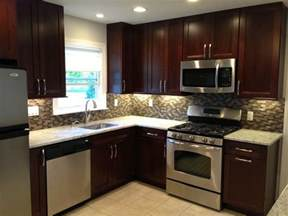 backsplash ideas for small kitchen kitchen remodel cabinets backsplash stainless steel appliances tile floor small