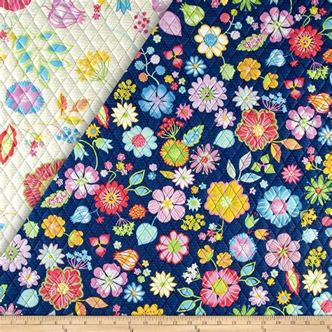 sided quilted fabric happy sided quilted floral ecru designer