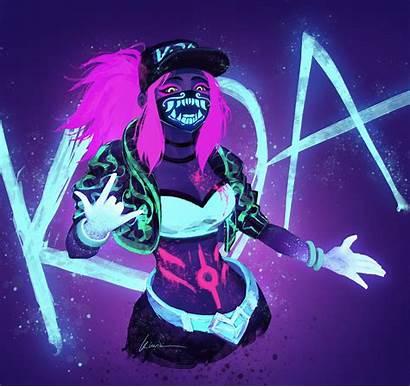 Akali Kda Fan Neon Lol League Legends