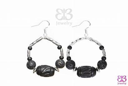 Carved Wood Earrings Lava Stone