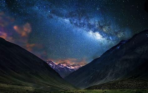 Landscape Nature Mountain Starry Night Milky Way