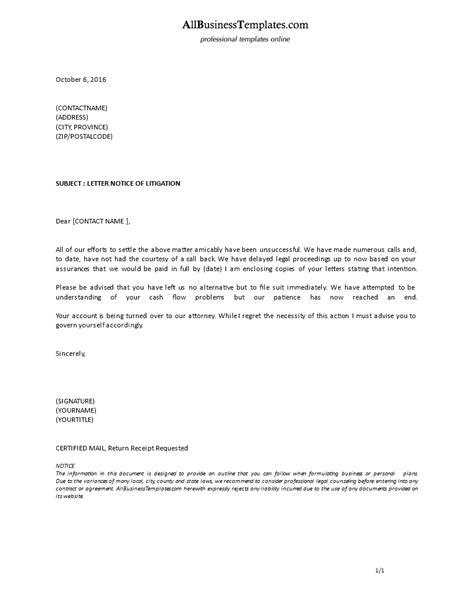 formal notice  litigation letter templates