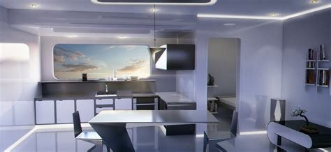 artstation futuristicsci fi minimalist apartment