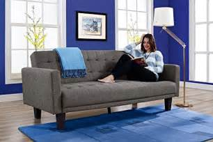 dhp sienna sofa sleeper tufted linen upholstery with