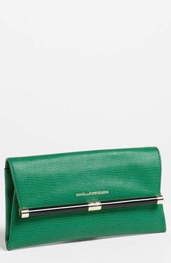 DVF Bag Black Lizard Leather Clutch Handbags