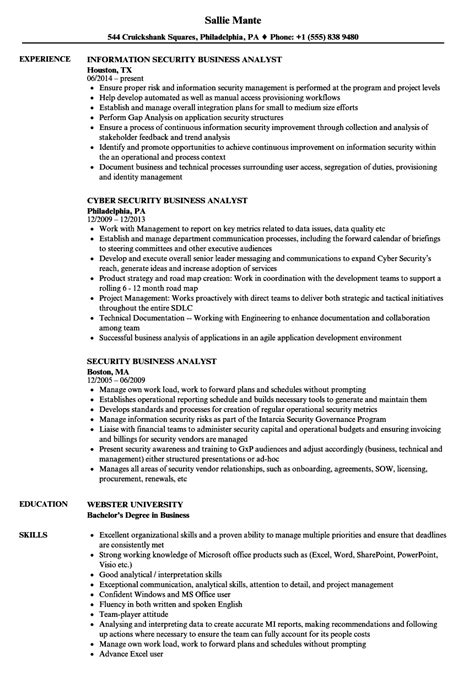 Analyst Resume by Security Business Analyst Resume Sles Velvet