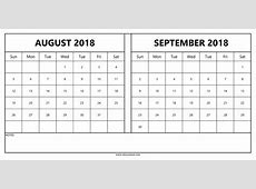 August September 2018 Calendar Qualads