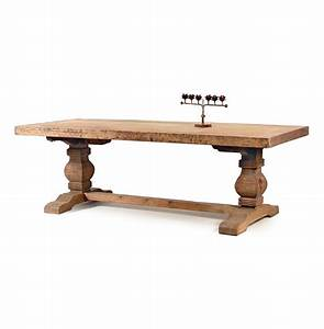 Rustic Solid Teak Wood Trestle Dining Table Kathy Kuo Home