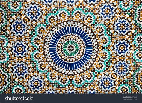turquoise wall tiles moroccan tile background stock photo 224273662