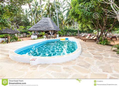 Garden Pool : Swimming Pool In African Garden Stock Image