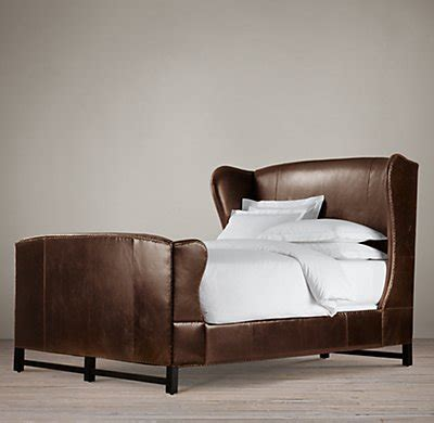 french wing leather bed  footboard