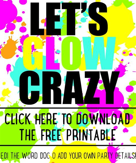 diy glow party invitations  printable