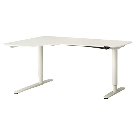 sit stand office desk bekant corner desk left sit stand white 160x110 cm ikea