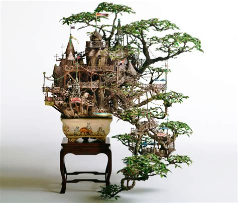 takanori aiba s amazing bonsai tree castles are miniature