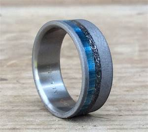 titanium ring meteorite ring wood ring blue ring custom With wedding ring made from meteorite