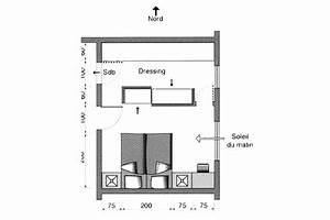plan chambre ou mettre le lit dans la chambre cote With plan de dressing chambre