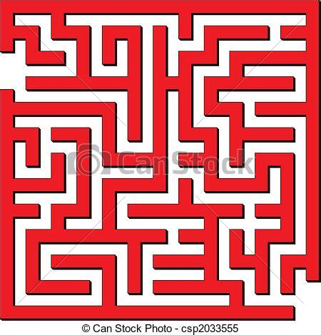 simple maze vector illustration  simple red maze