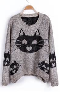 cat sweater cat pattern sweater hearts adorn