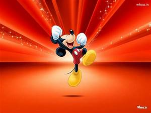 Happy Mickey Mouse With Red Background HD Wallpaper
