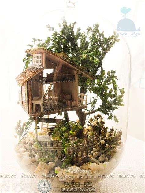 miniature tree house project diy handcraft miniature project kit wooden dolls house the summer treehouse