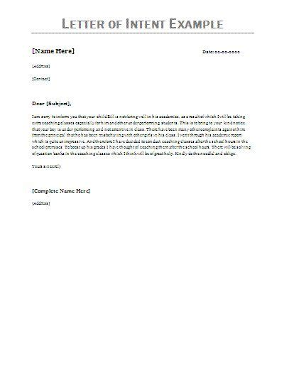 bidder statement template letter of intent exles letter of intent exle
