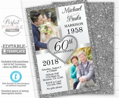 silver anniversary invitation template silver wedding etsy