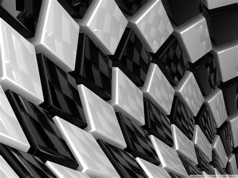 3d Hd Picture by 3d Cubes Black And White 4k Hd Desktop Wallpaper For
