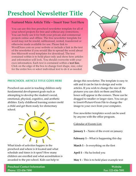 preschool newsletter template free 10 best images of newsletter template free business 910