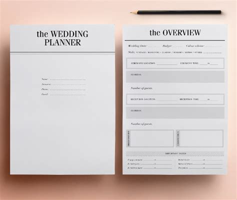 wedding planner samples word psd pages