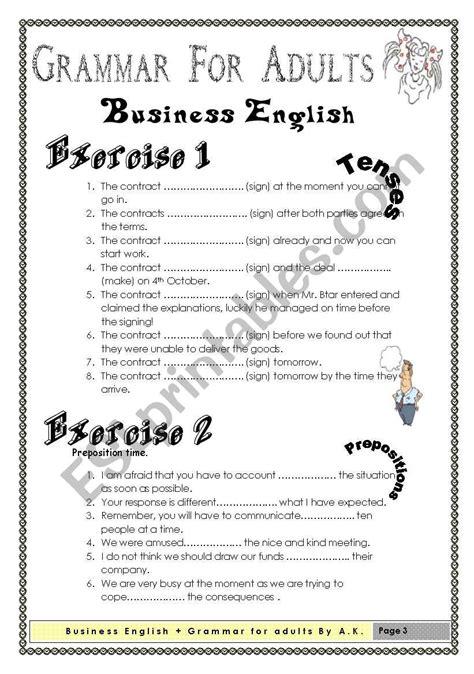 grammar  adults business english esl worksheet