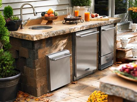 outdoor kitchen kits with sink cheap outdoor kitchen ideas hgtv