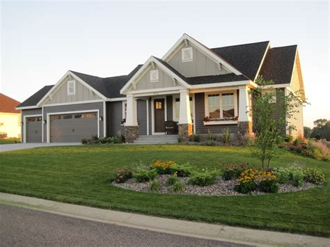 Home Exterior : Single Story Craftsman Style Homes Craftsman Style Ranch