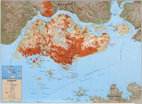 Detailed administrative and road map of Singapore ...