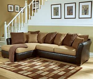 Ashley furniture signature design lawson saddle living for Sectional couch outlet