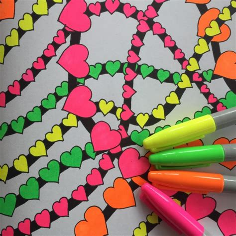 neon sharpie markers   adult coloring book pages