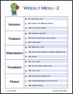 8 best images of printable menus daycares sample daycare With child care menu templates free