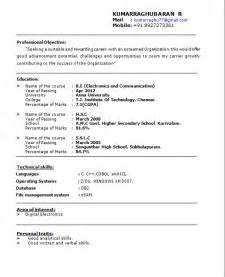 best resume format for freshers perfect resume format for freshers