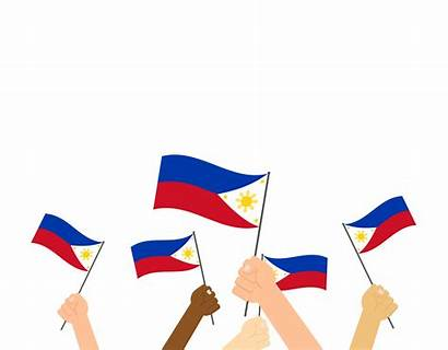 Philippines Background Vector Holding Flags Hands Illustration