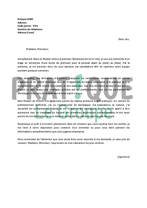 lettre de motivation pour un stage en master de chimie pratique fr