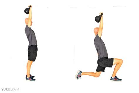 kettlebell lunge press exercises reverse weight workout body loss ab lower exercise combo core dumbbell beginners muscles worked printable shoulders