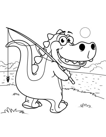 Cute Tyrannosaurus Goes Fishing coloring page Free