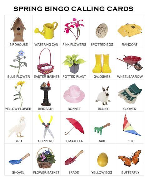 spring bingo calling cards