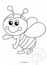 Bee Funny Cartoon Bees Coloring Printable Happy Honey Coloringpage sketch template