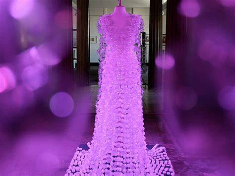 elegant gown created  recycled plastic bottles bit