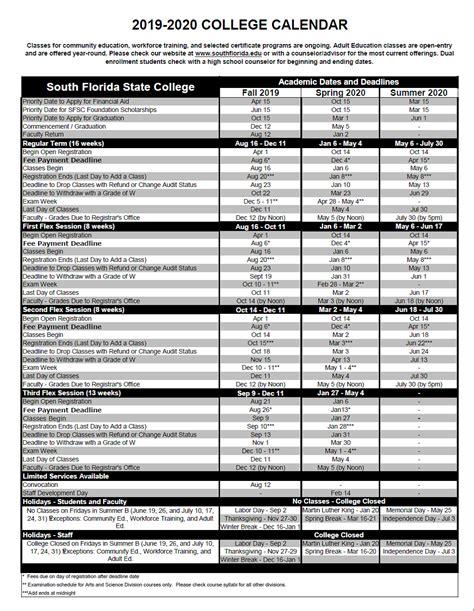 academic calendar south florida state college