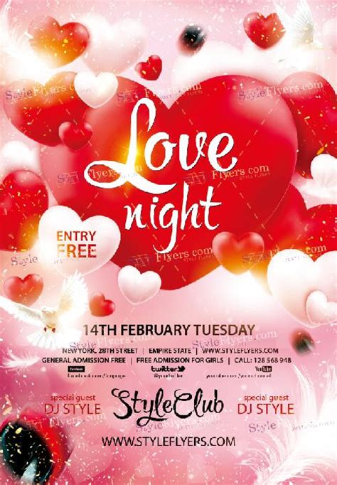 love night valentine flyer template psd material