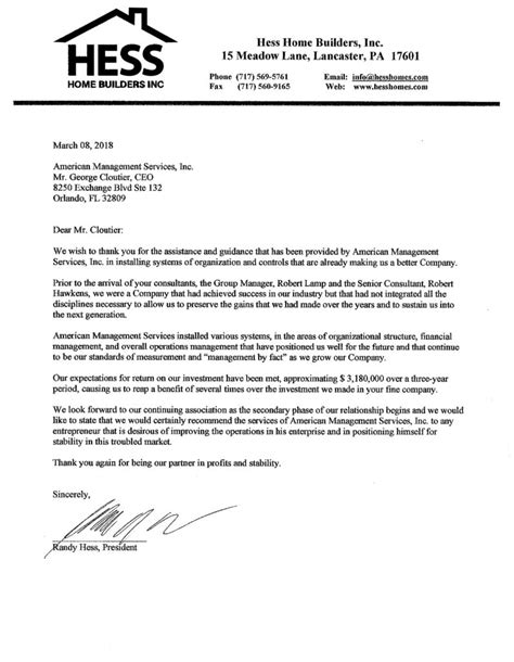 Letter Builder by Hess Home Builders Reference Letter American Management