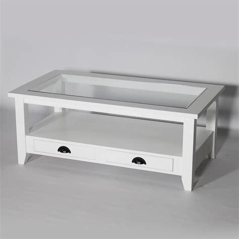 bout de canapé en bois table basse bois massif blanche avec plateau en verre